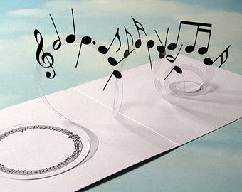 Music Card Spiral Pop Up - Musical Notes 3D Card - Popup Card