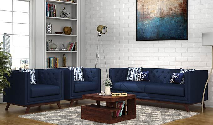 Buy Berlin Fabric Sofa Set Indigo Ink Online In India Wooden Street In 2020 Bed Furniture Design Sofa Set Corner Sofa Design