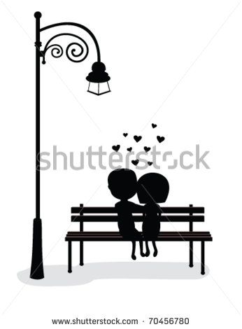 Fantastic Silhouette Of Boy And Girl Sitting On A Bench Vector By Machost Co Dining Chair Design Ideas Machostcouk