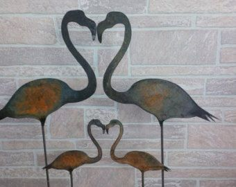Metal Flamingo Yard Stake   Yard Decor   Flamingo Family Yard Decor   Garden  Stake
