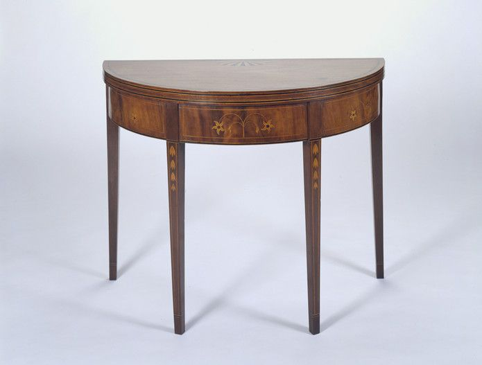 RISD Museum: Possibly Allie Burton, cabinetmaker, American, 19th century. Card Table, 1800-1820. Mahogany, maple and pine. 69.8 x 90.8 cm (27 1/2 x 35 13/16 inches). Bequest of Martha B. Lisle, by exchange; Ida Ballou Littlefield Fund, Mary B. Jackson Fund and additional funds provided by Mr. and Mrs. George M. Kaufman and J. J. Smortchevsky 85.015