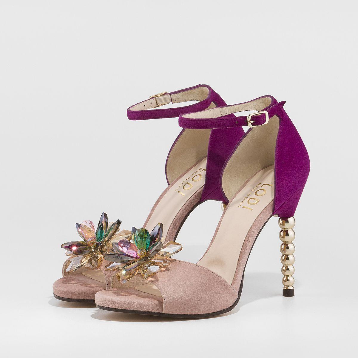 22021202 Sandalia Yuyal en ante de color morado y rosado y detalle de flor  multicolor| LODI