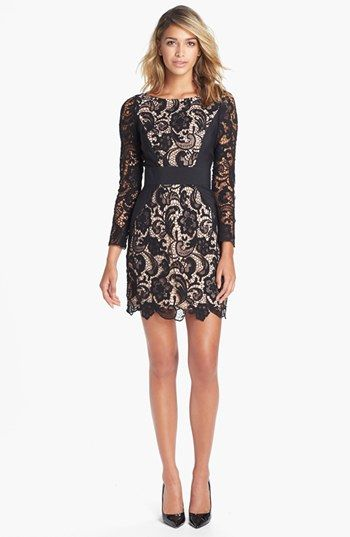af75f97ecd Details about NWT - Jessica Simpson Pink and Black Lace sheath dress ...