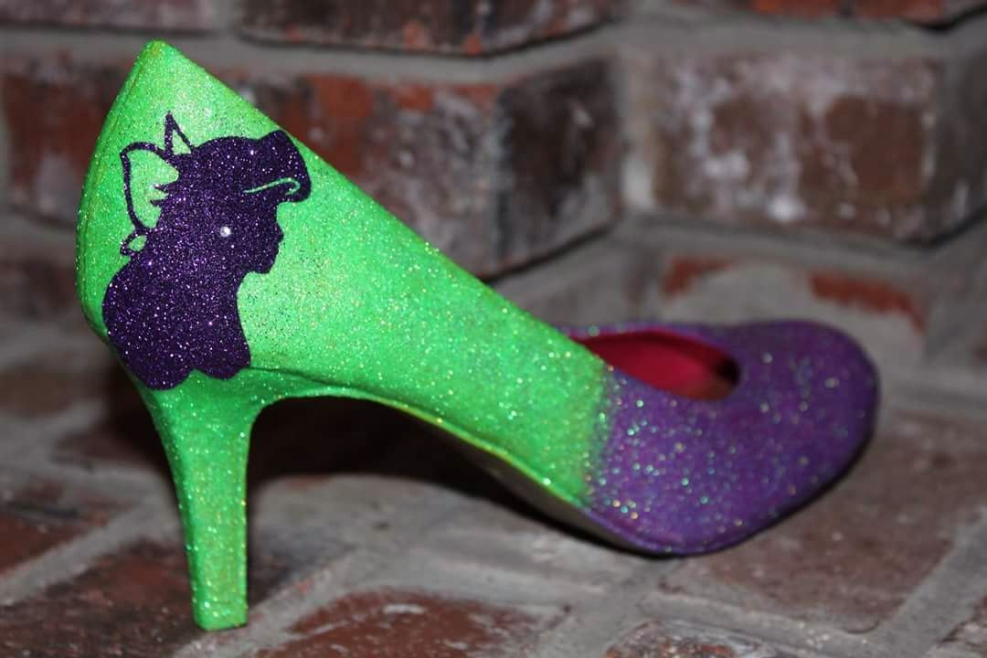 Ariel Two Toned Sparkly Shoes| Green and Purple Glitter| Ariel Mermaid Rhinestone Heels by YourCraftyCraze on Etsy https://www.etsy.com/listing/264363897/ariel-two-toned-sparkly-shoes-green-and