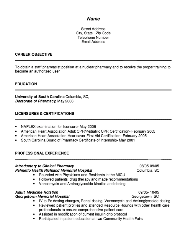 Cv Pharmacist Samples Free Resume Sample Sample Resume Templates Free Resume Samples Pharmacist