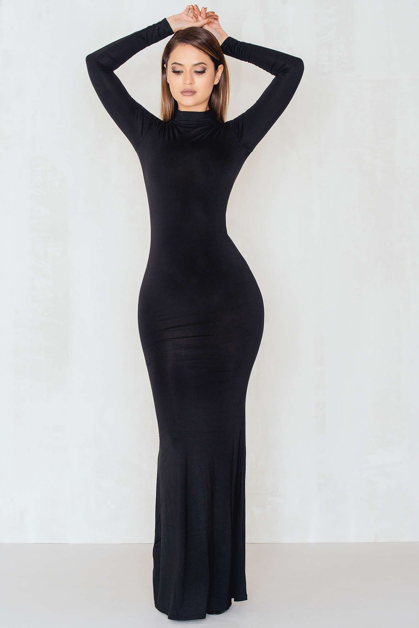 Black dress long - Prepare To Crush Em In This Fantastic Black Dress The High Neck Long Sleeve