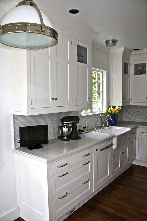 Attractive Lovely Kitchen Design With Creamy White Shaker Kitchen Cabinets, Beveled  Granite Countertops, Oval Marble Tiles Backsplash, Farmhouse Sink, ...