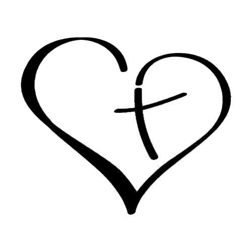 bd160c7f101a2 Christian Heart Die Cut Vinyl Decal PV1211 Simple Cross Tattoo, Cross Tattoo  On Wrist,
