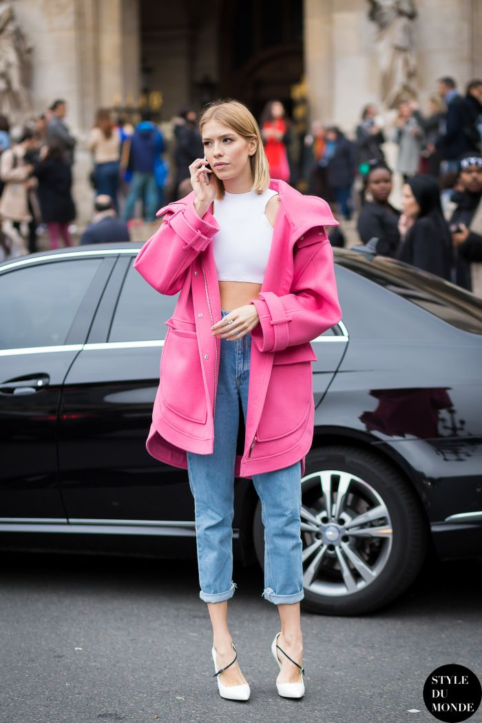 Lena popping pink in Paris. #ElenaPerminova