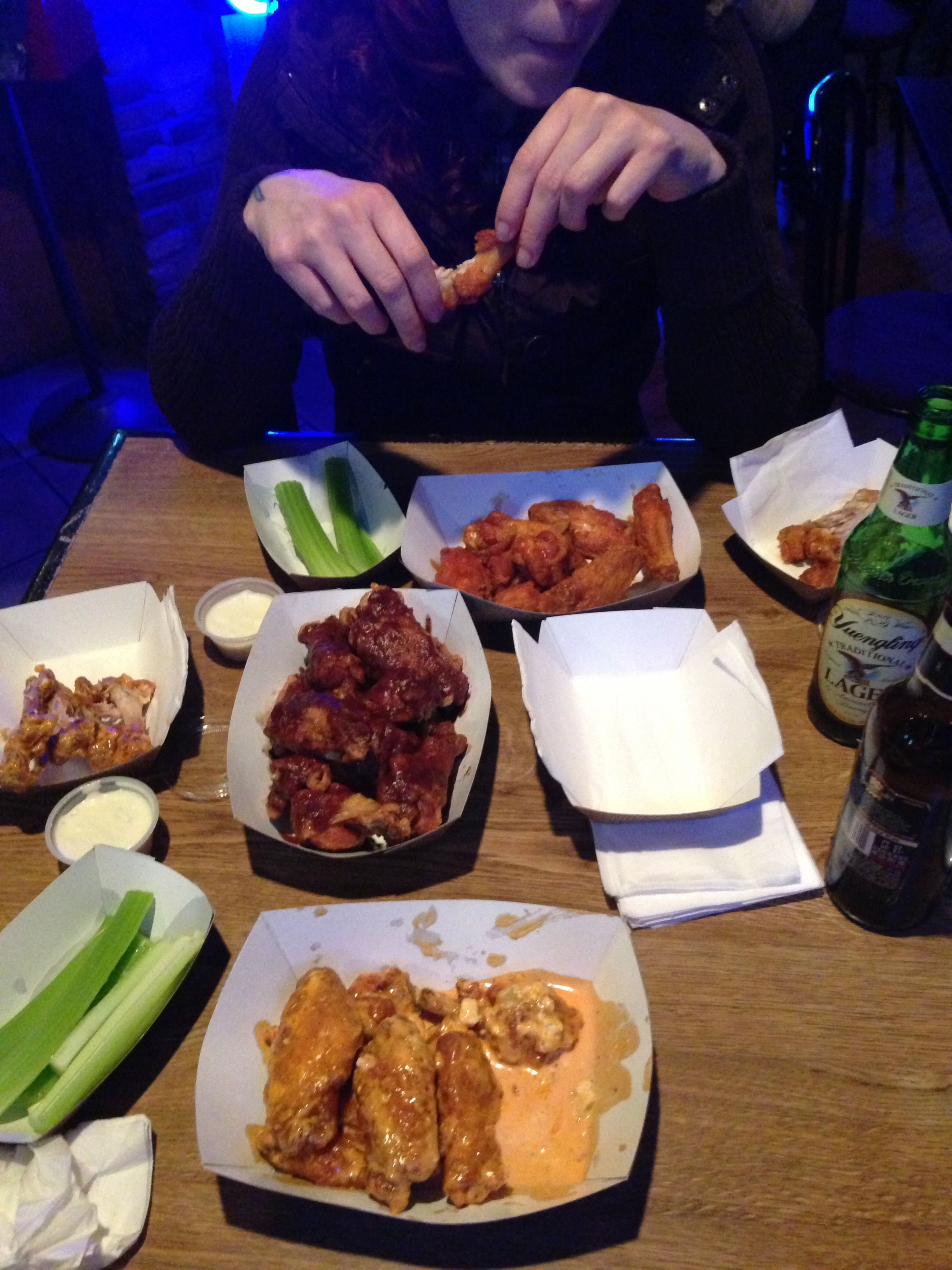 Wing night!!! Spicy blue cheese, A-1, and Hot wings! Good beer and good company!