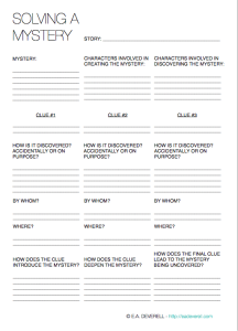 Solving A Mystery Writing Worksheet Wednesday Writing Charts