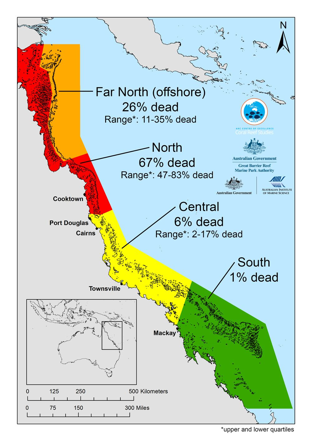 This Map Shows The Average Coral Loss Along The Great Barrier Reef
