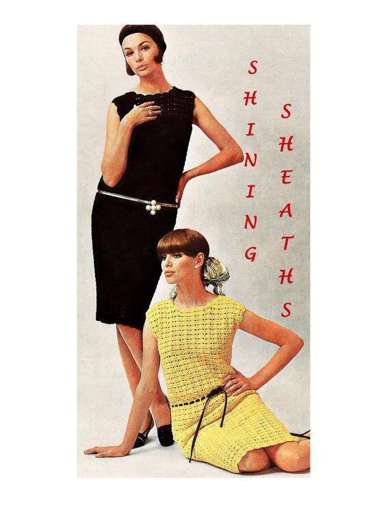 Digital Download 70's Crochet Shell Stitch Sheath Dress Pattern - Retro Mod Crochet Sleeveless Dress PDF Pattern Crochet Supplies
