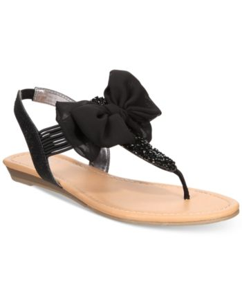08307fcd7 Material Girl Swan Flat Thong Sandals, Created for Macy's - Black 7.5 W