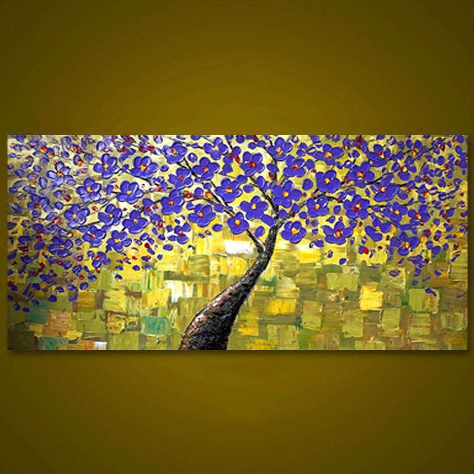 Unframed Purple Tree Flower Hand Painted Palette Knife Oil Painting ...