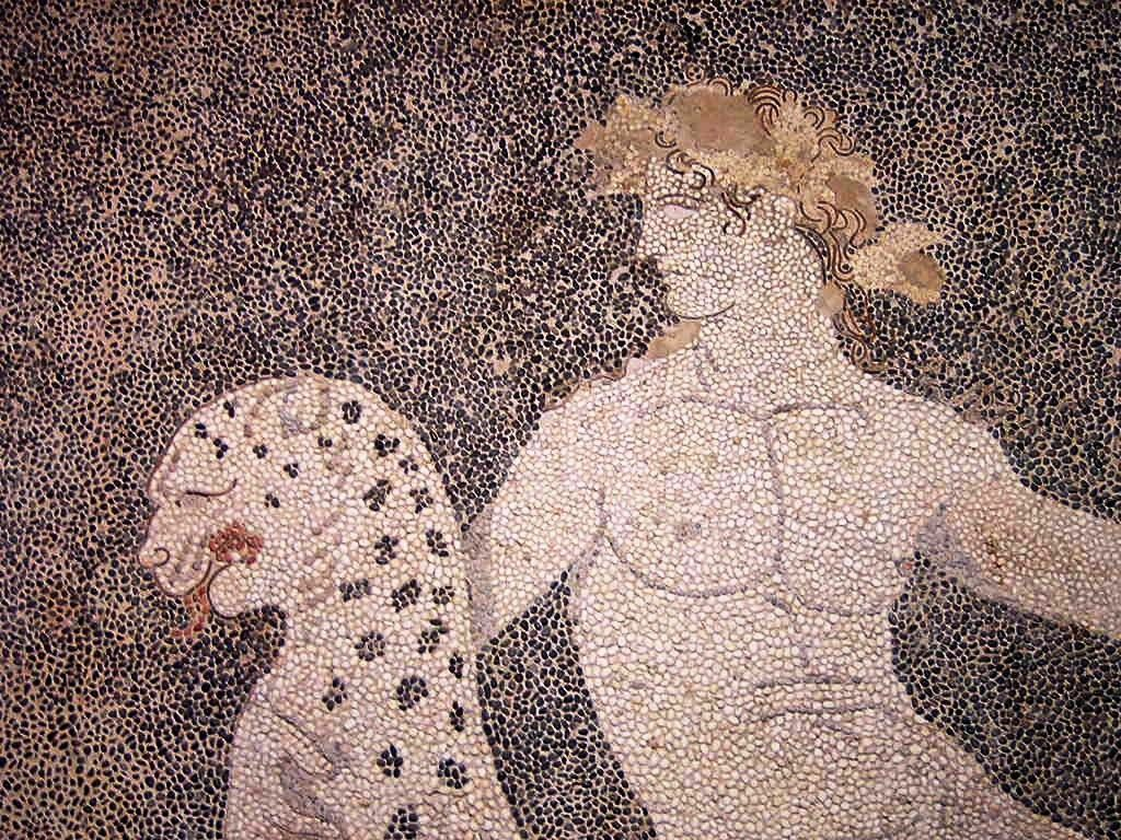 Dionysus riding a panther, detail of a mosaic from Pella