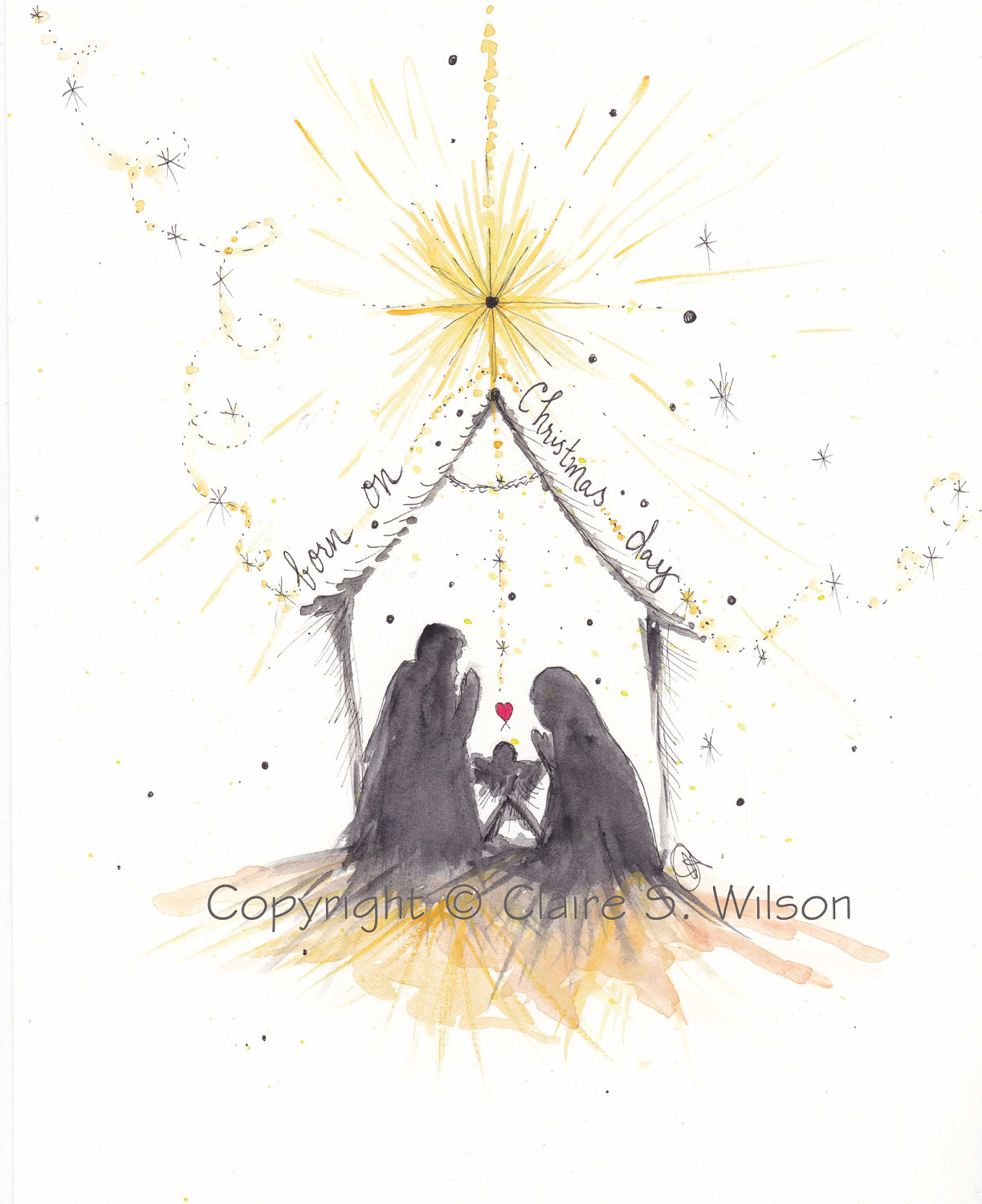Nativity Limited Edition Original Watercolor 8x10 50 00 Via