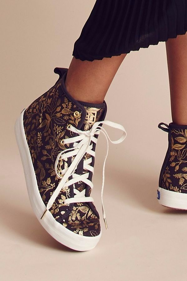 Meet Keds X Rifle Paper Co. Kickstart Hi Queen Anne: a high top sneaker worthy of dress up (a rare find in the world of footwear). Perfect for holiday parties, brunches, date nights, and giving your everyday looks a noteworthy twist. And there's more novelty sneakers where that came from…shop the entire collection at keds.com.