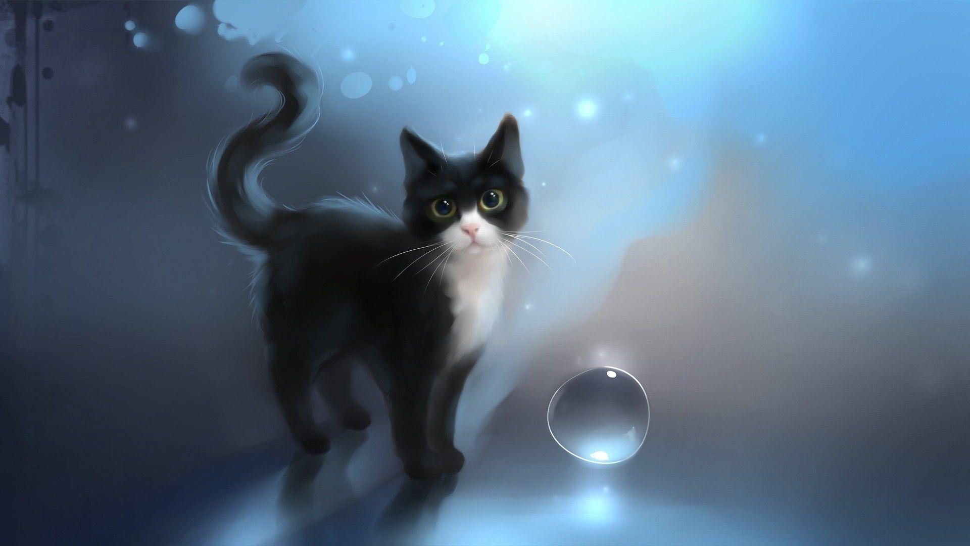 Black Cat Art Black Cat Drawn Art Awesome Desktop Wallpaper