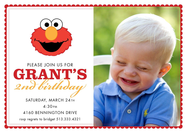 Elmo Birthday Party Invitations Personalized | Zaya\'s Second ...
