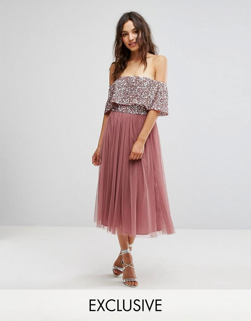 #AdoreWe #ASOS Clothing~~Dresses~~Day Dresses - Maya Maya Bardot Midi Dress  in Tonal Delicate Sequin with Tulle Skirt - Red - AdoreWe.com