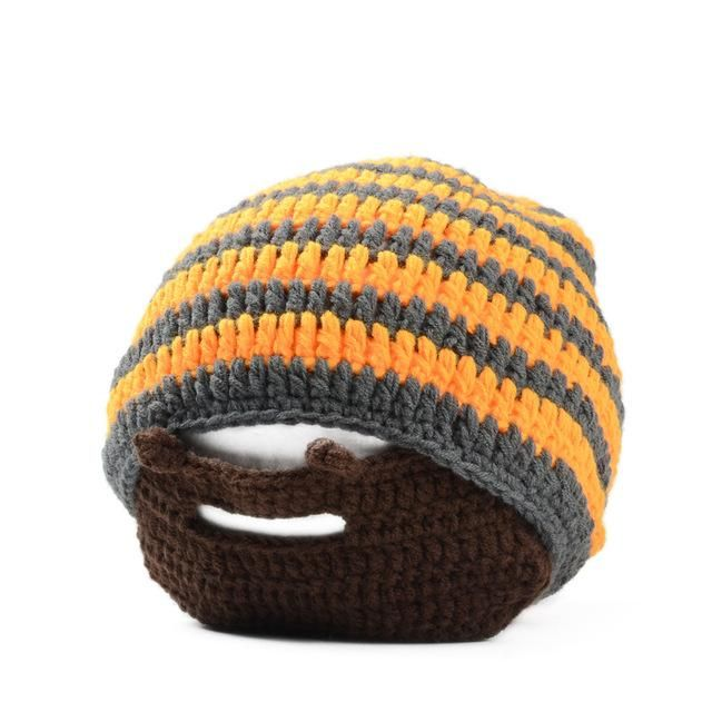 Visnxgi 2018 Mens Color Cool Punk Warm Winter Knit Crochet Beard Beanie Mustache Face Mask Ski Snow Warmer Hat Cap M048 Orange g #crochetedbeards