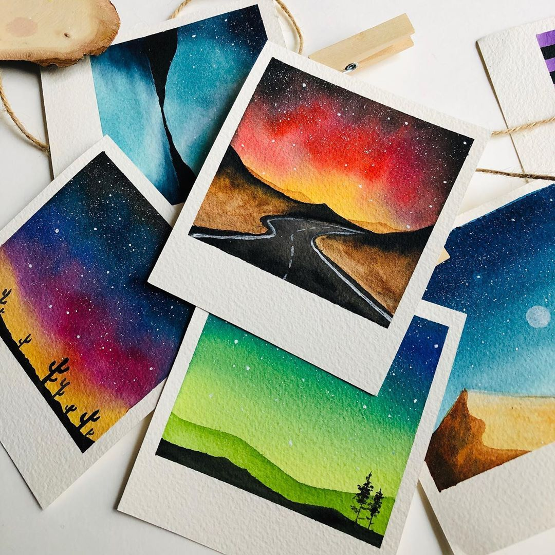 "Zaneena Nabeel | Aurora by Z on Instagram: ""My favorite collection of Polaroid Galaxies️. . #artistsoninstagram #watercolor #watercolorpainting #watercolorgalaxy #loveforstars…"""