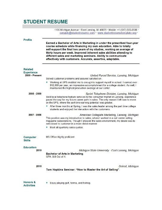 Student Resume Templates Template Easyjob Vitae For Graduate