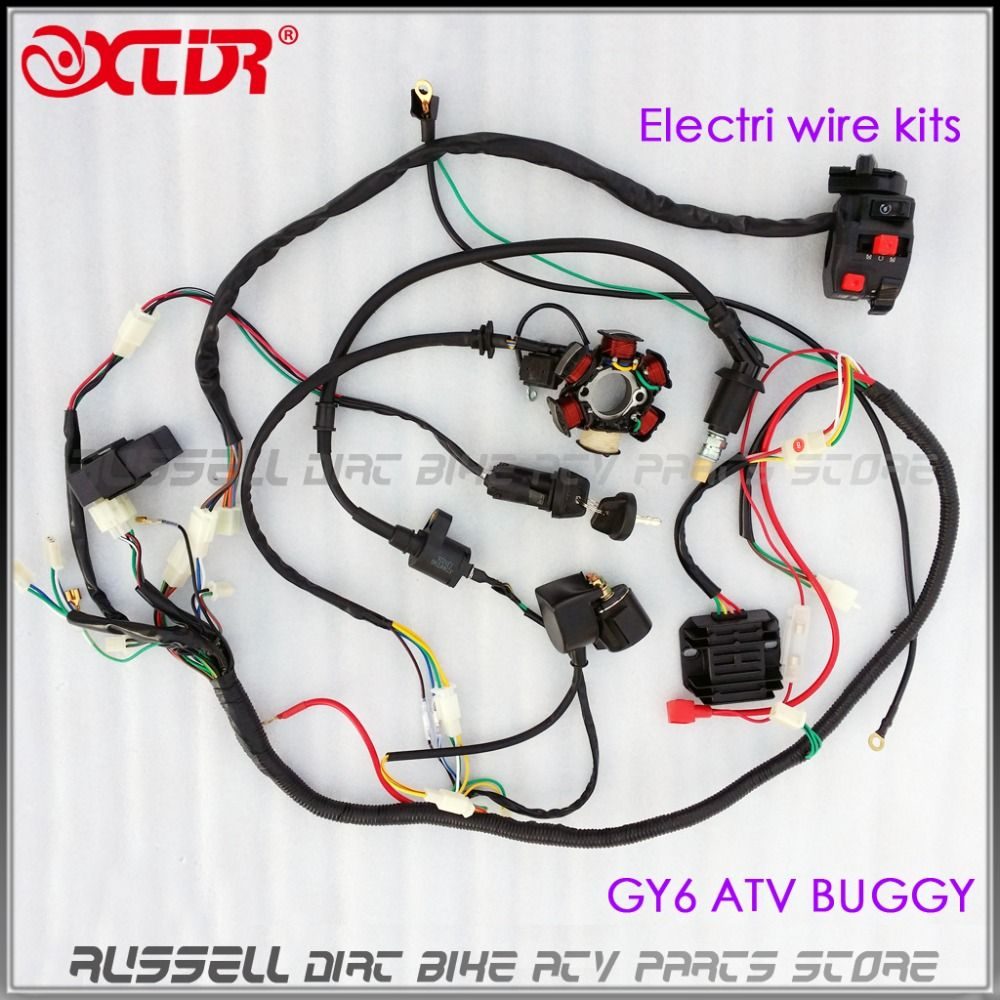 medium resolution of full electrics wiring harness cdi box magneto stator 150cc gy6 engine atv quad bike buggy go