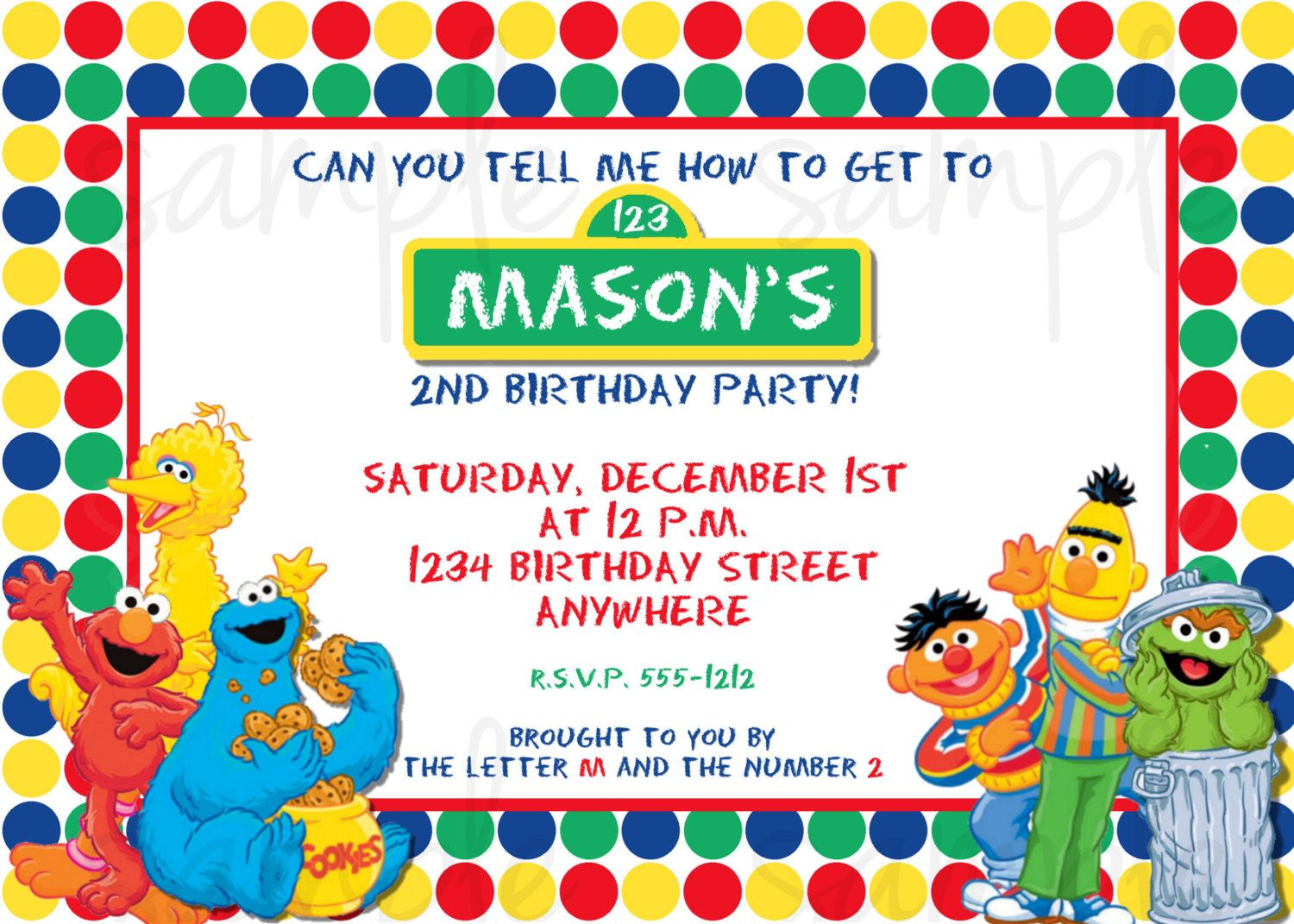 Sesame Street Birthday Invitation | Sesame Street Party Theme | Kids ...