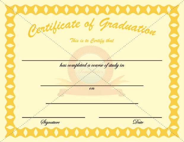 Graduation Certificate Golden Template – Graduation Certificate Template Free
