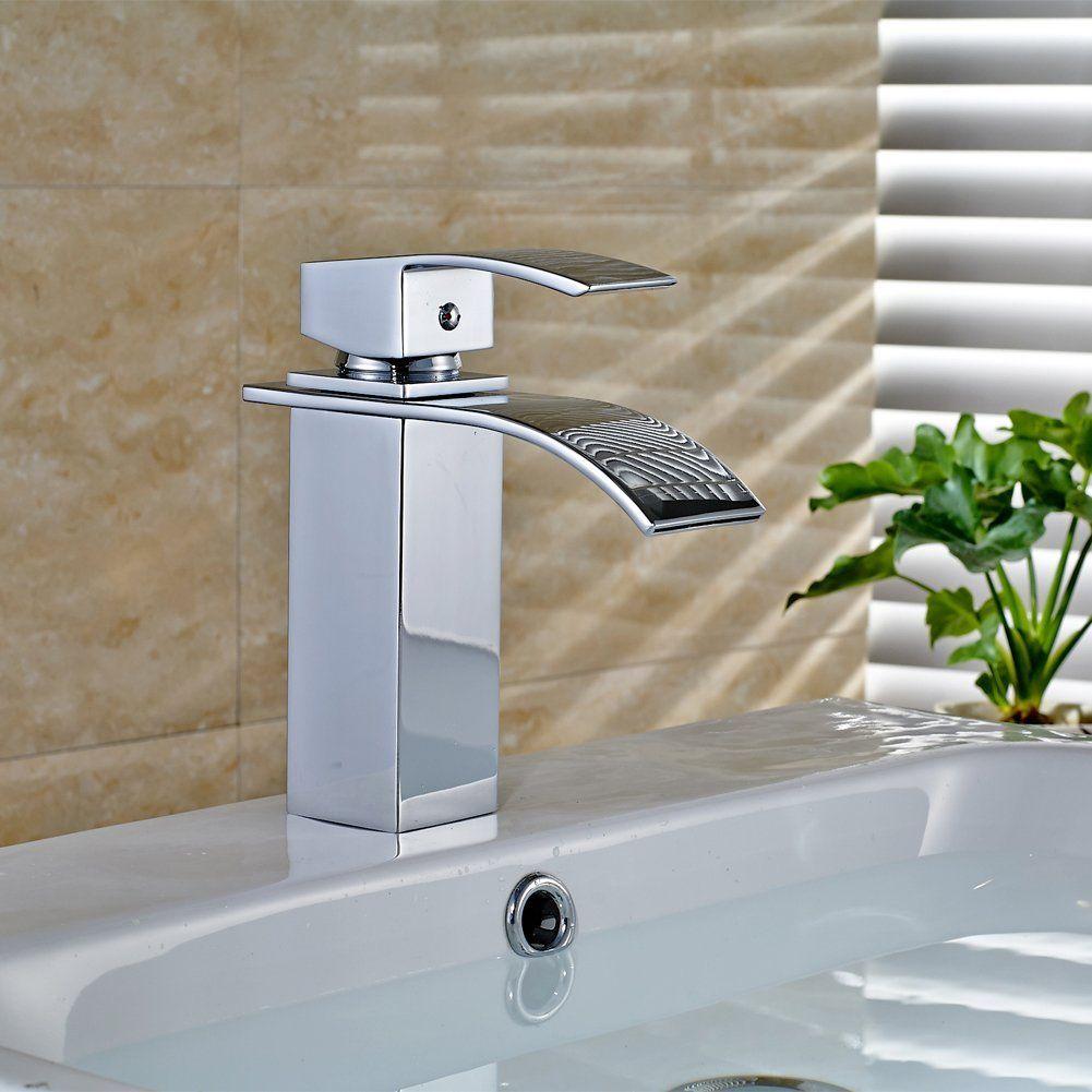 AuraLum Waterfall Brass Bathroom Basin Faucet, Single Handle Sink ...