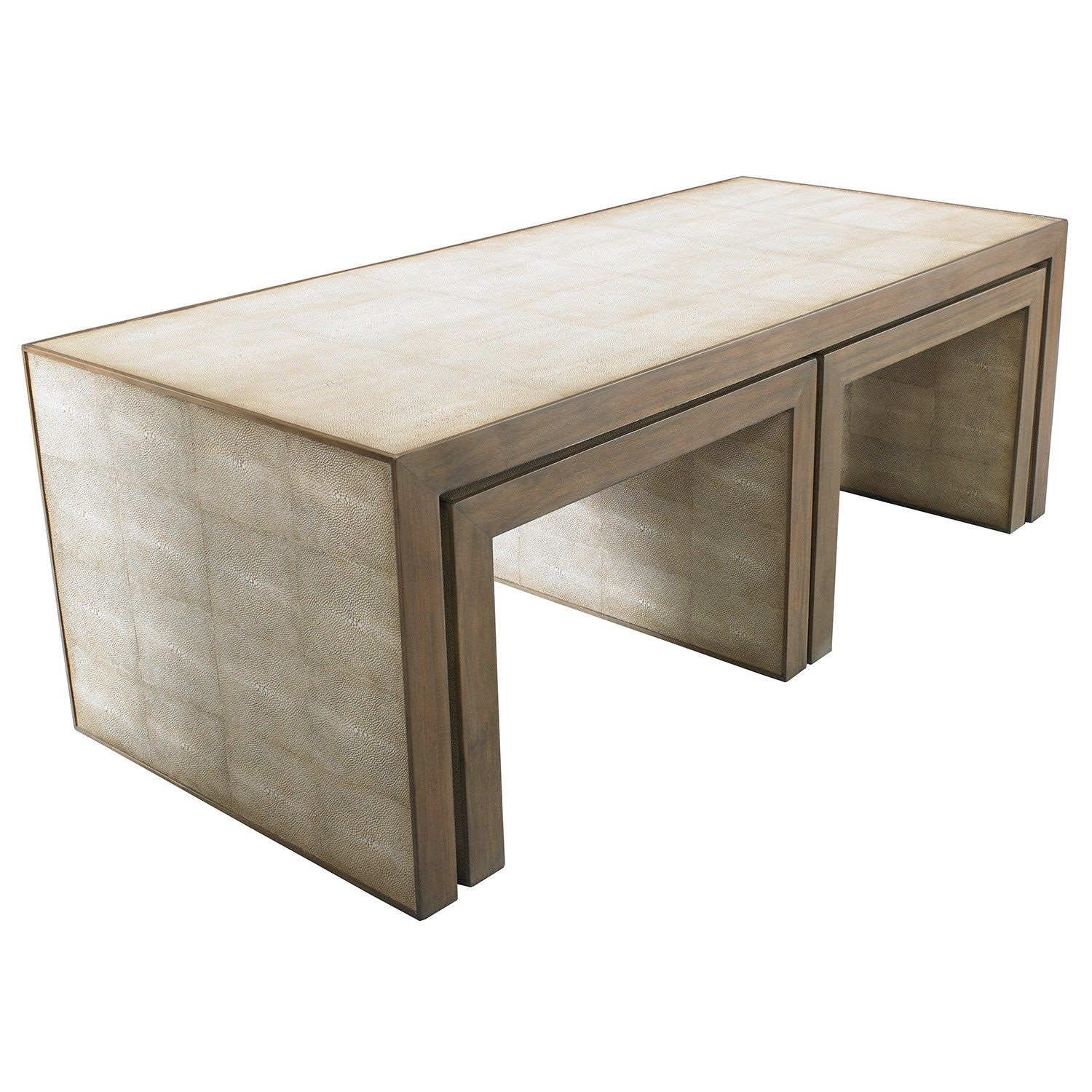 shagreen wrapped with wood trim table