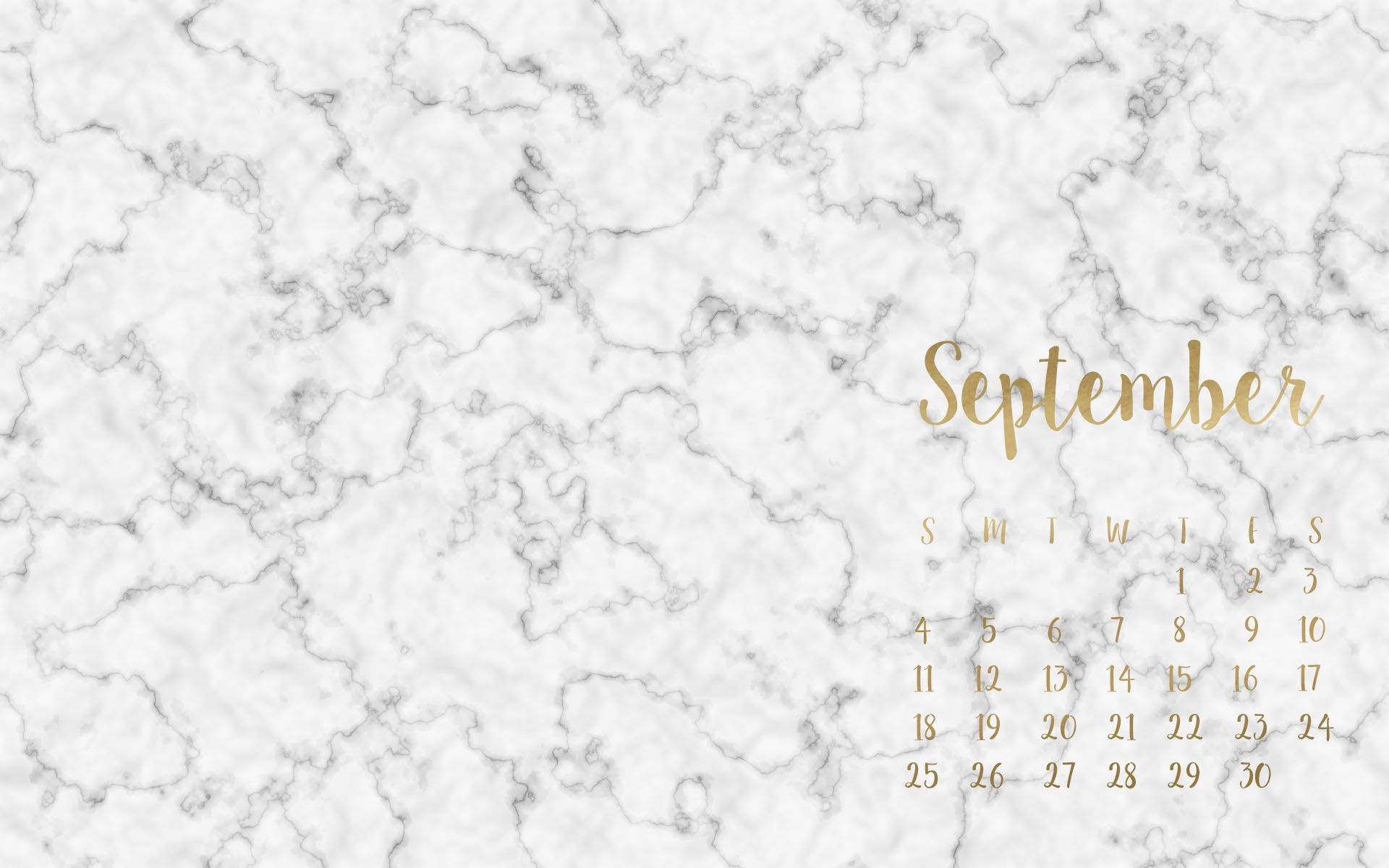 FREE September Desktop Wallpaper | Background | Marble ...