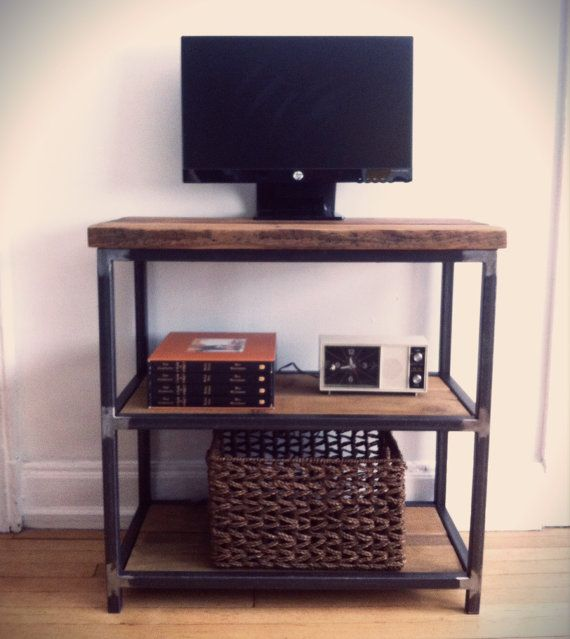 Reclaimed Wood and Steel TV Stand Microwave Stand Book Shelf