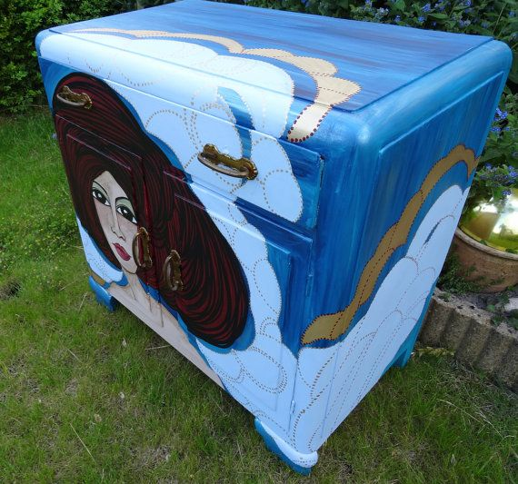 Small hand painted antique two door cabinet  Dimensions (H x W x D) :  Cm : 80 x 80 x 45 Inch :31,5 x 31,5 x 17,7  Suitable for (for example) a TV on top and the Home Cinema system inside  World wide shipping ( please ask for a quote before purchase)  Leyla Salm is a Dutch Designer who is active in Fine and Applied Art with a little inspiration from the Art Nouveau en Art Deco era.  Her book is for sale via this link : http://etsy.me/1JDBA6D  Leyla Salm comes from a long