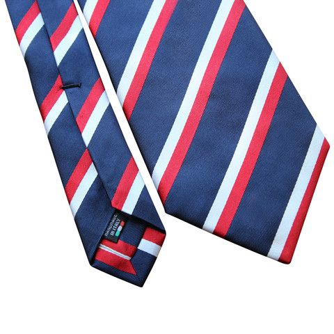 Pheobes & Dee Walwyn Seven Fold Tie in Blue with Red and White accents. All our ties are handmade in Italy #sevenfoldtie #menswear #style #gentleman