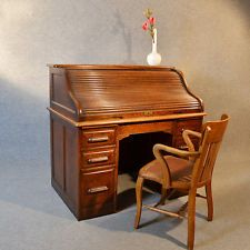 Antique Roll Top Writing Bureau Desk English Oak Edwardian Tambour Rolltop C1910 Ebay Roll Top Desk Writing Bureau Bureau Desk