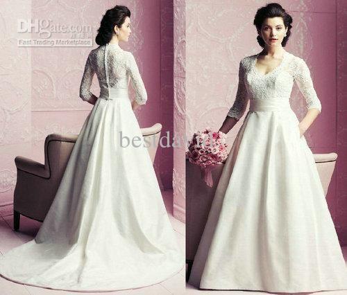 2013 V Neck Lace Long Sleeve Wedding Dresses A Line Hidden Pockets