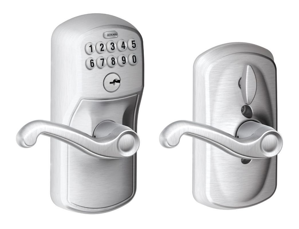 Schlage Fe595 Ply Fla Flex Lock Keypad Entry Lock Leverset With Flair Lever From Aged Bronze Leverset Keyless Entry Electronic Door Levers Keypad Lock Schlage Locks
