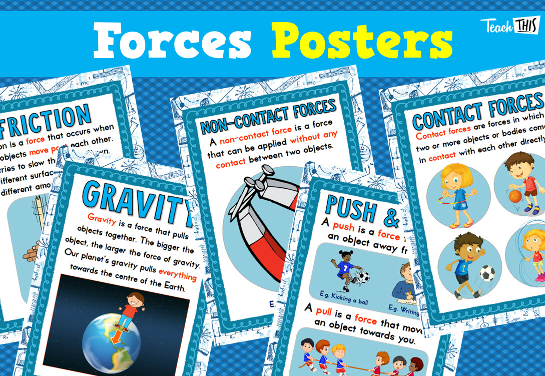 Forces Poster Set Classroom Games Teaching Posters Teacher Resources