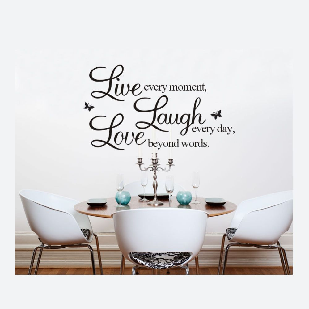 Live Laugh Love Wall Stickers Buterfly Words Letters Home Decor