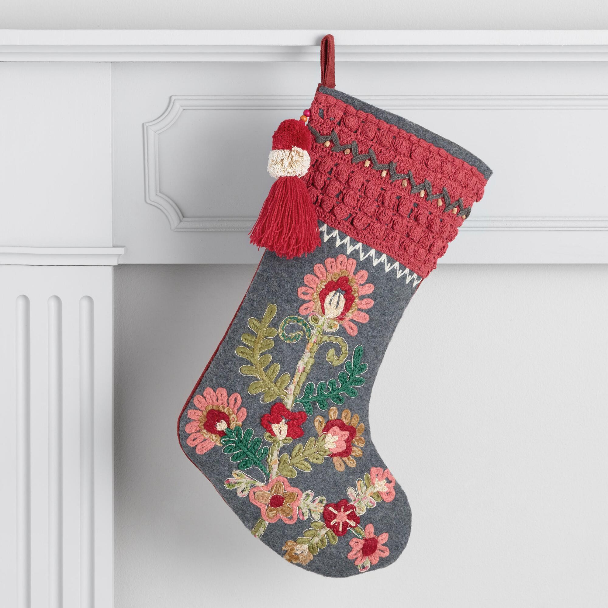 0acb76d8f Floral Embroidered Stocking with Tassel by World Market