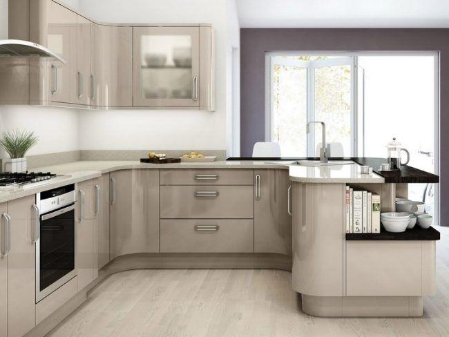 Welche Farbe Kueche Modern Taupe Cappuccino Hochglanz Fronten Quarz Arbeitsplatte Kuchen Design Kuchendesign Kleine Kuchen Ideen