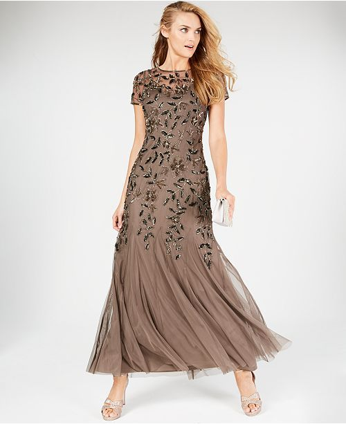 47be0e6b23de Adrianna Papell Floral-Beaded Gown & Reviews - Dresses - Women - Macy's