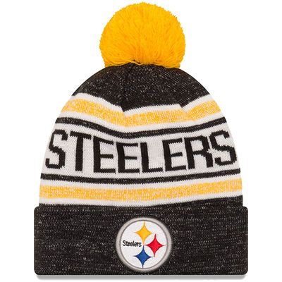 Men s Pittsburgh Steelers New Era Black Toasty Cover Cuffed Knit Hat with  Pom b047b28113f