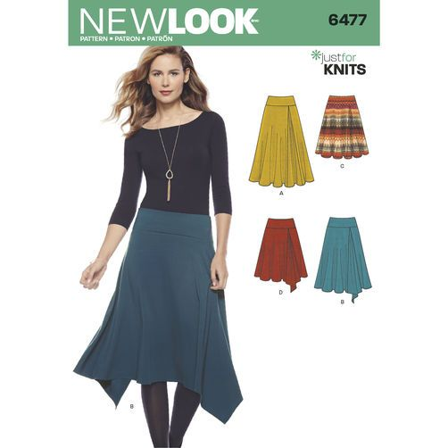 New Look Pattern 6477 Misses Knit Skirts In Varying Lengths