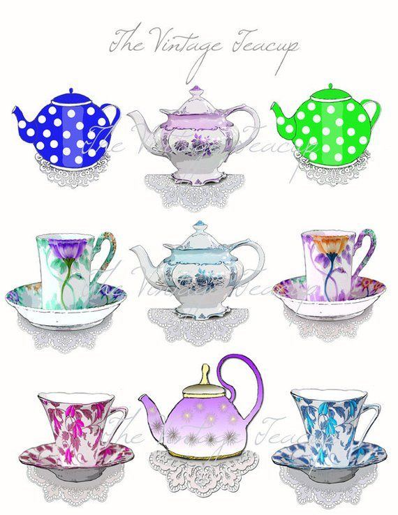 Clip Art Teacups and Tea Pots, 9 Digital Images for Instant Download, PDF, PNG and JPG #teapots