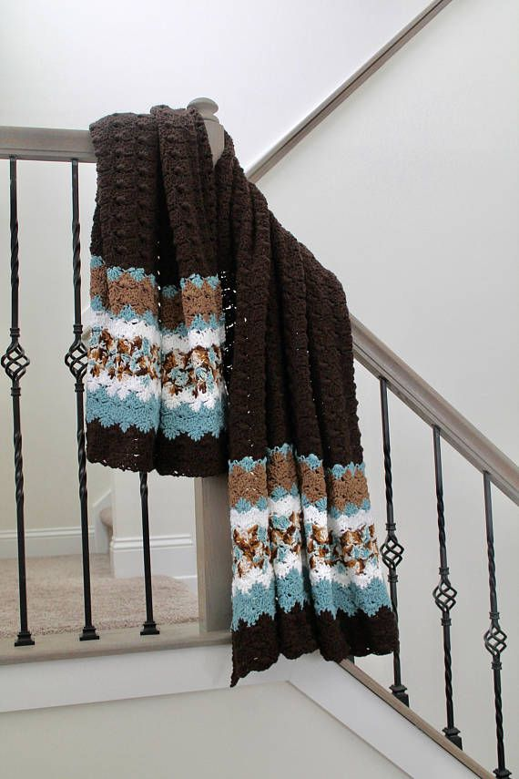 Brown And Blue Blanket Crochet Shell Pattern Afghan Twin Size