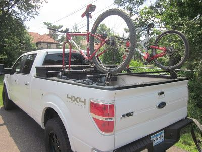 Yakima Bike And Snowboard Rack System Mounted On A Ford F150
